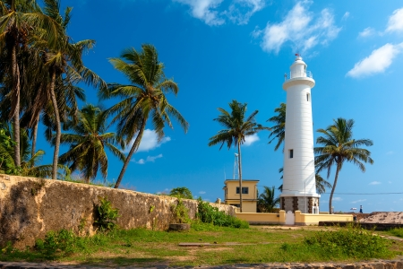 Scenic view at white lighthouse in Galle fort, Sri Lanka during sunny day