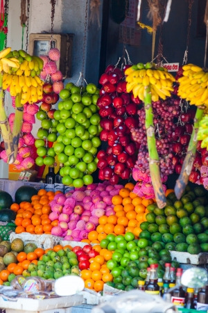 Various fruits at local market in Sri Lanka photo