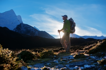 Escursioni nel Khumbu Walley in Himalaya montagne Archivio Fotografico - 19866085