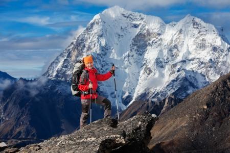hikers: Hiking in Khumbu walley in Himalayas mountains