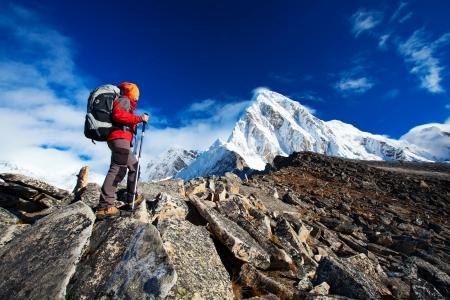Hiking in Khumbu walley in Himalayas mountains Stock Photo - 19868980