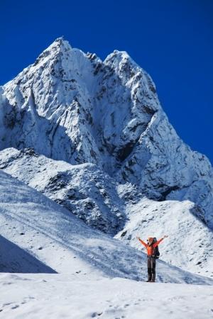Hiking in Khumbu walley in Himalayas mountains photo