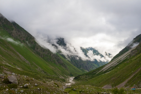 Scenic view at the walley in Caucasus mountains photo