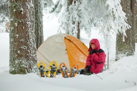 carpathian: Camping during winter hiking in Carpathian mountains Stock Photo