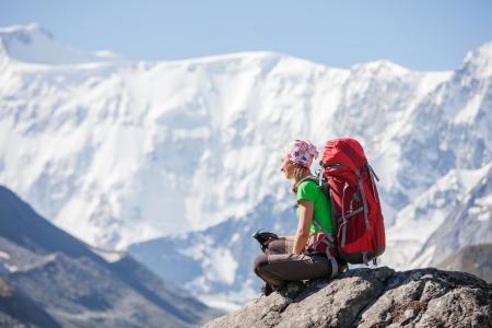 siberia: Hiker near Belukha Mountain, the highest in Siberia