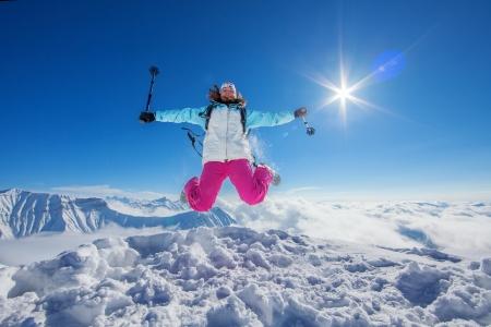 hiking trail: Hiker in winter Caucasus mountains in Georgia, Gudauri