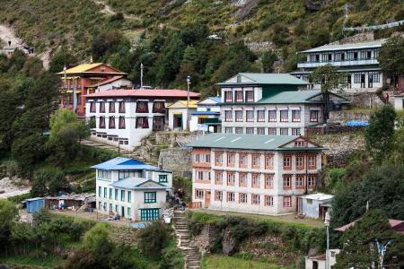 bazar: Namche Bazar - biggest village in Khumbu valley, Nepal