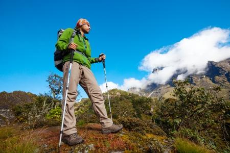 trekker: Hiker on the trek in Himalayas, Khumbu valley, Nepal Stock Photo