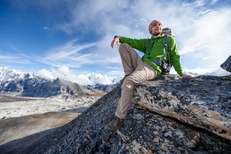 himalayas: Hiker on the trek in Himalayas, Khumbu valley, Nepal Stock Photo