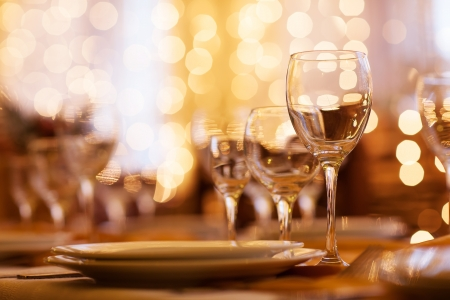 fine cuisine: beautifully served table in a restaurant Stock Photo