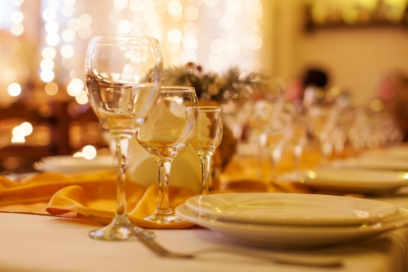 banquet table: beautifully served table in a restaurant Stock Photo