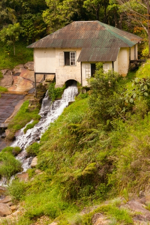 old grist mill: Old watermill on mountain river