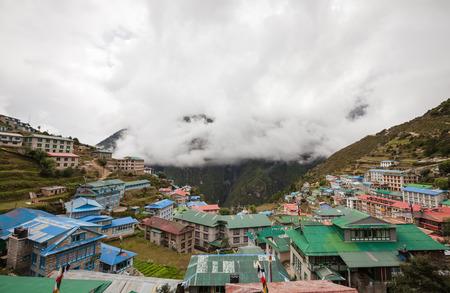 bazar: Highland village Namche Bazar in Khumbu region, Nepal Stock Photo