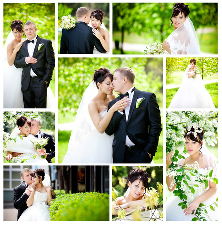 Bride and groom on their wedding day Banque d'images