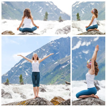 Young woman is practicing yoga at mountain river photo