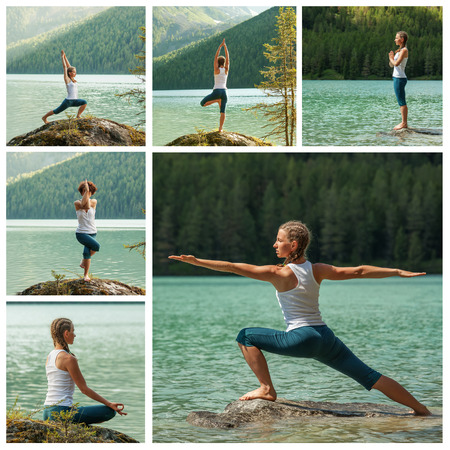 Young woman is practicing yoga at mountain lake photo