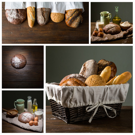 Still life photo of bread and flour with milk and eggs at the wooden table photo