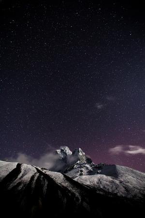 himalaya mountain with star in night time photo