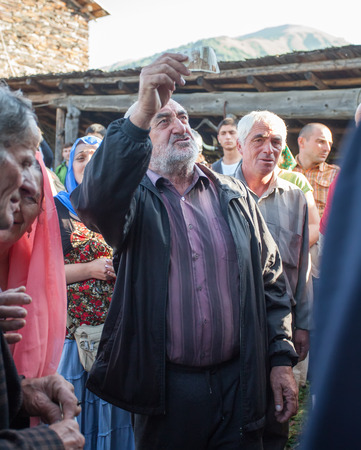 mestia: People are celebrating holiday Kvirikoba (Lagurka) in honour to Saint Kvirike and Iuliete (Quriqus and Jiliet ) that took place 28 of July in curch of St Kvirike in Kala village of Mestia municipality