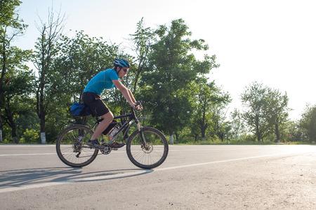 road cycling: Man cycling at the road