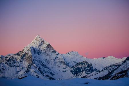 pyramid peak: Ama Dablam peak at sunset. Stock Photo