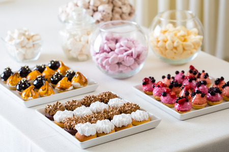 petit: A petit four - small confectionery or savoury appetizer Stock Photo
