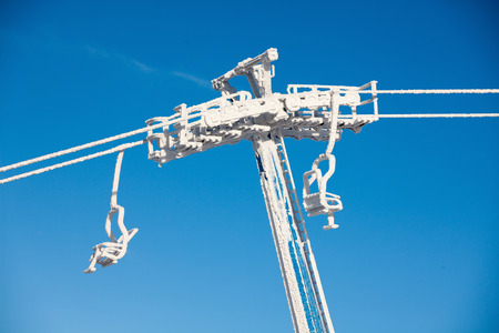 Chairlifts in front of ski resort photo