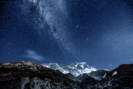 stars: himalaya mountain with star in night time