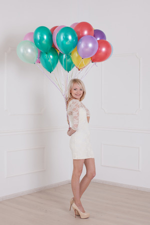ttractive: ttractive young woman with balloon on Valentine Day