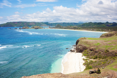Lange Tanjung Aan wit zandstrand, Lombok, Indonesië Stockfoto