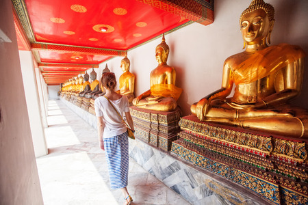 Buddhist temple, Wat Pho in Bangkok ,Asia Thailand Foto de archivo