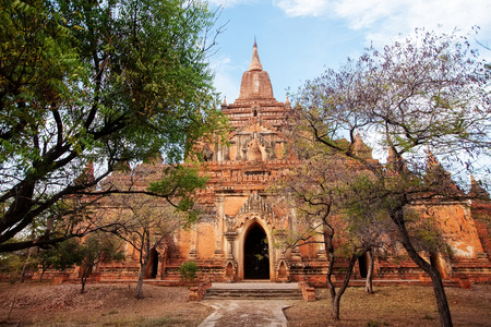 spiritual journey: Buddhist temples in Bagan at sunset, Myanmar