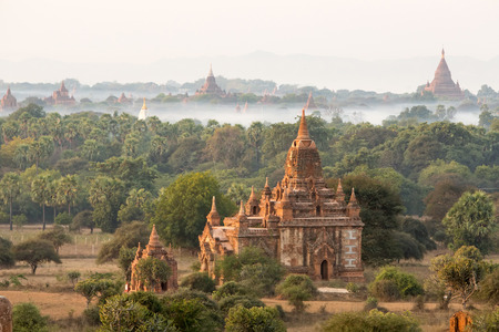 fascinate: Buddhist temples in Bagan at sunset, Myanmar