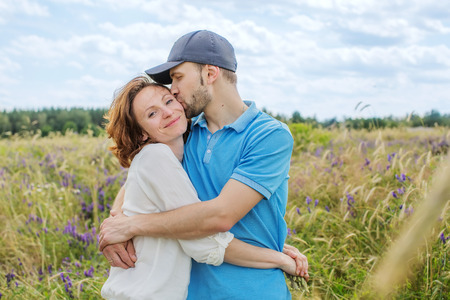 road of love: The happy couple has a rest in the field