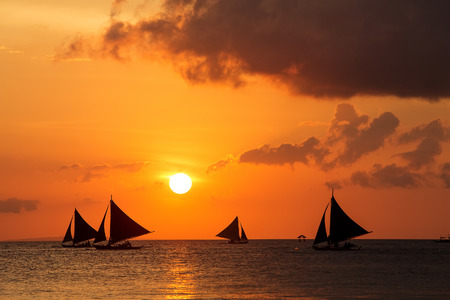Beautiful sunset at Boracay, Philippines