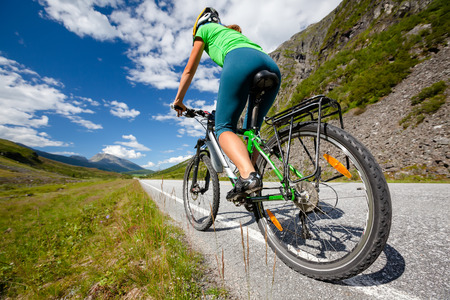 cycling mountain: Biking in Norway against picturesque landscape