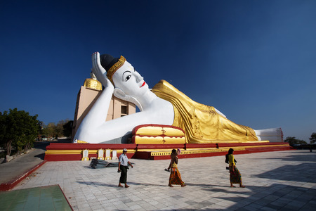 Giant reclining Buddha at Bodhi Tahtaung monastery in Monywa, Myanmar