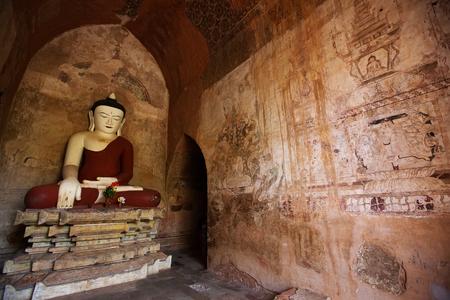 statue: Buddhas statue in a Bagan pagoda, Mayanmar Stock Photo