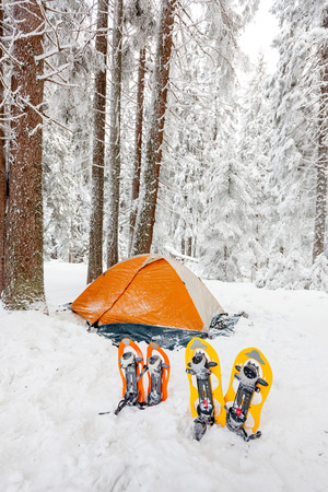 snowshoes: Snowshoes left in front of orange tent in winter forest Stock Photo