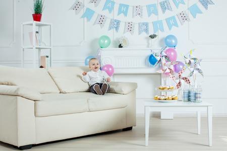 one year: Portrait boy with birthday cake Stock Photo