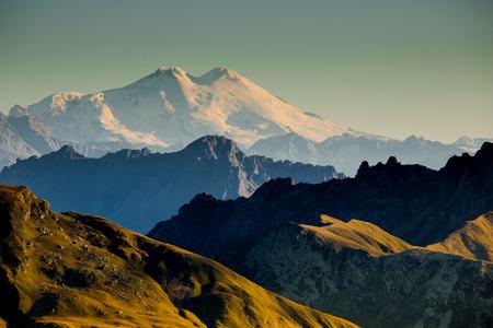 elbrus: View to Elbrus mountain from Georgia side