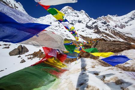 Hiker on the trek in Himalayas, Annapurna valley, Nepal