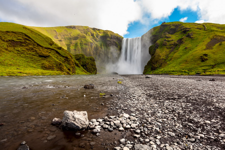 Prowerfull Skogafoss waterfall in Iceland Stock Photo