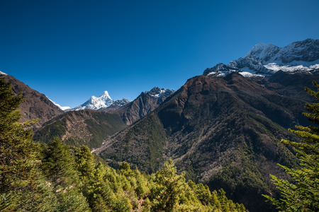 Amadablam peak in Khumbu valley in Nepal, Himalayas Stock Photo