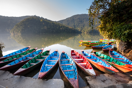 phewa: Colorful boats in Phewa lake in Pokhara, Nepal