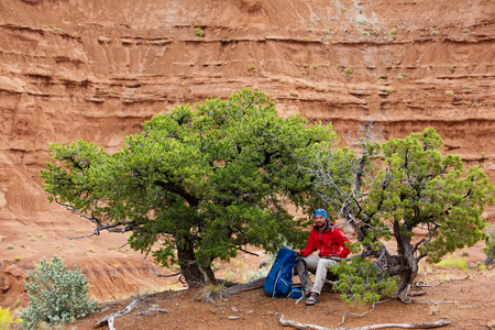 rock formation: Hiker in Kodachrome Basin state park in Utah, USA Stock Photo