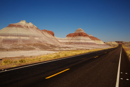 Petrified Forest Road in Petrified Forest National Park, Arizona USA