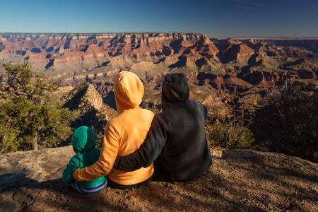 A family in Grand Canyon National Park, South Rim, Arizona, USA