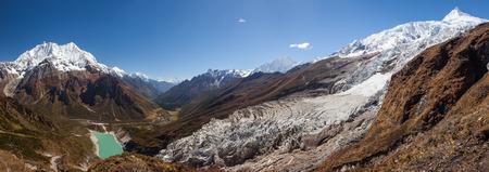 Beautiful panoramic landscapes of Himalaya mountains along Manaslu circuit track in Nepal Stock Photo