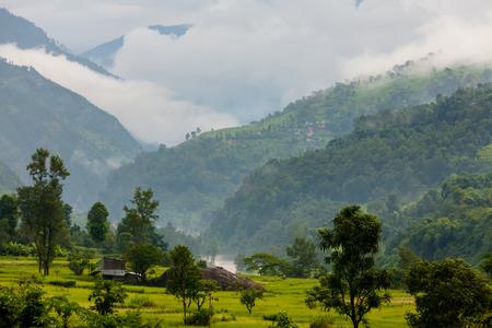 Beautiful landscape of Himalaya mountains on Manaslu circuit Stock Photo